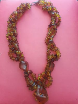 Dominican Clear Yellow Green Amber .925 Sterling Silver Necklace 12 inches long for Sale in Tampa, FL
