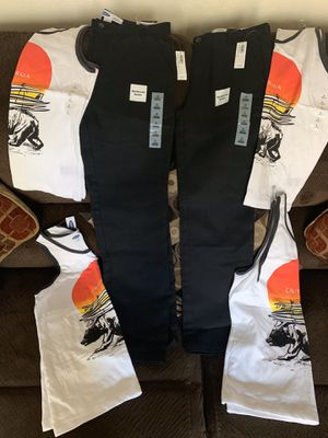 Brand new boy's clothes black pants size 12 $10 for each and T-shirt size large $5 for each or take all for $35 FIRM for Sale in Carmichael, CA