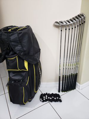 Taylormade M1 Irons set from 4,5,6,7,8,9,PW,AW + a SW(M1), and Taylormade Golf cart Catalina Bag for Sale in Pembroke Pines, FL