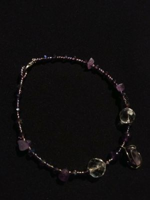 New Genuine Amethyst Purple And Clear Crystal Bracelet With Caged Amethyst Charm Style Pendant February Birthstone Lobster Clasp for Sale in Gresham, OR