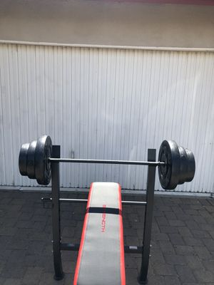 Bench press with Barbell and leg developer combo with 100 lb Weight Set for Sale in Montebello, CA