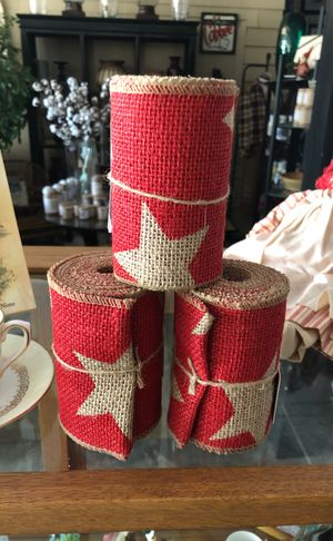 Red burlap ribbon with stars for Sale in Lewisville, NC