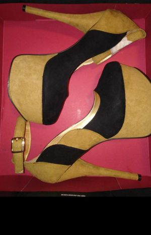 Beige and black ankle-strap stilettos for Sale in Springfield, MA