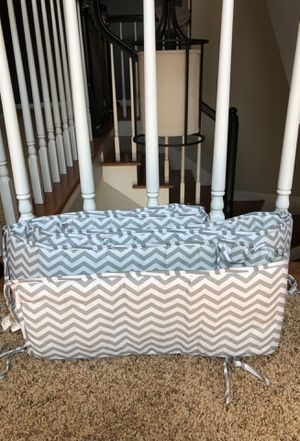 Grey and White Chevron bumper for baby crib for Sale in San Jose, CA