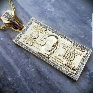 """Large Hundred Dollar Bill Benjamin Money Pendant w/ 5mm 30"""" Rope Chain Necklace for Sale in Middletown, CT"""