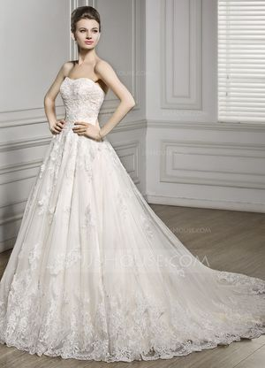 Ball-Gown Sweetheart Court Train Tulle Lace Wedding Dress for Sale in Seattle, WA
