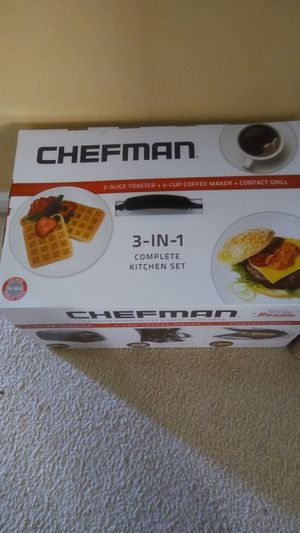 Chefman- 3-IN-1 Toaster,Coffeemaker & Contact Grill for Sale in Chesapeake, VA