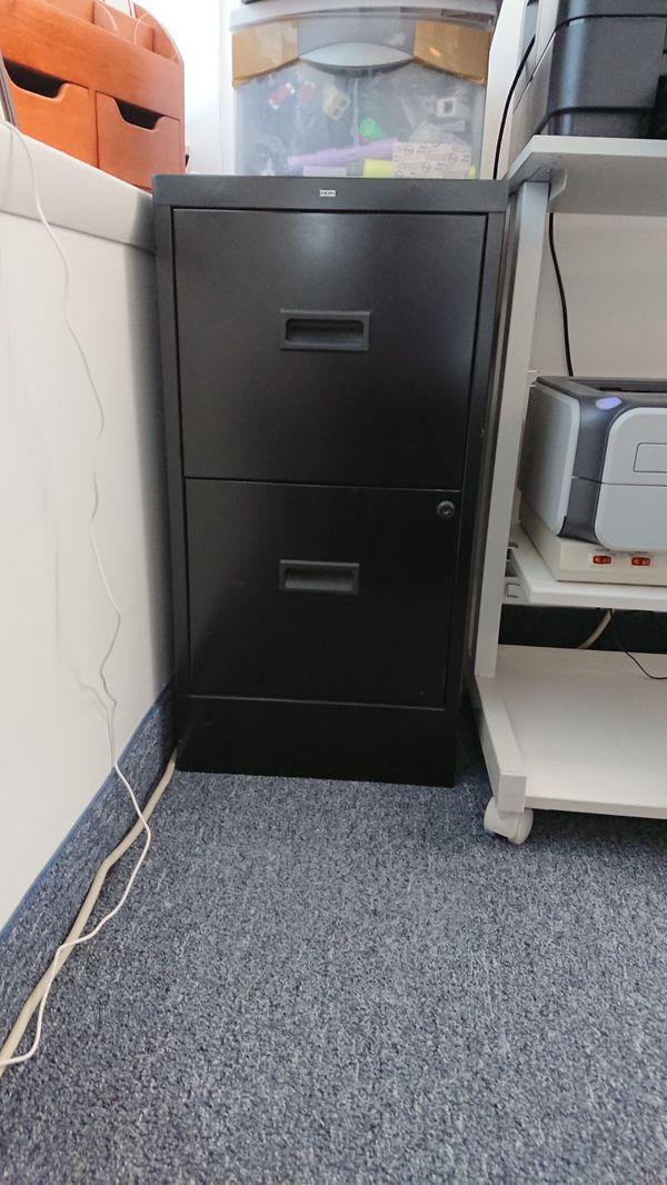 Filing Cabinet, 2 Drawer, Steel, Black Color