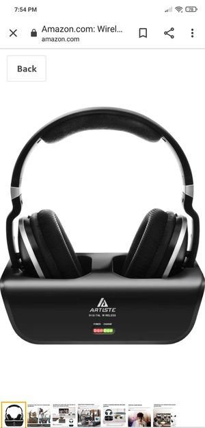 Wireless TV Headphones, Artiste ADH300 2.4GHz Digital Over-Ear Stereo Headphone for TV 100ft Distance Transmitter Charging Dock Rechargeable (Black) for Sale in Indianapolis, IN