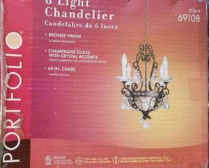 New 6 Light Chandelier Champagne Glass with Crystal Accents for Sale in Burlington, NC