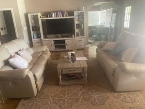 Ashley's leather white couches. Electrical with USB ports for Sale in Las Vegas, NV
