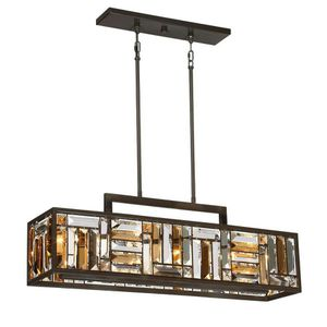 Quoizel Crossing 8.25-in W 4-Light Bronze Kitchen Island Light with Tinted Shade for Sale in El Cajon, CA