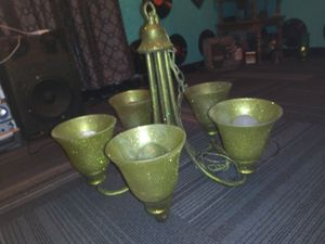Glittery Green 5 Light Chandelier in good condition. for Sale in San Antonio, TX