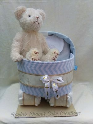 Christening diaper cake gift, baptisim gift, carriage diaper cake, prayer bear, newborn gift, baby shower gift, handmade baby gift for Sale in Lake Placid, FL