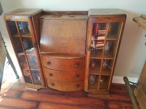 Antique mail desk wood shelves and glass doors original for Sale in San Jose, CA