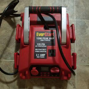New Everstart Jump Starter 1200 Peak Amp 120 PSI Compressor 400W Power Inverter for Sale in Portland, OR