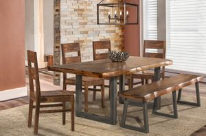 """80"""" Live-edge style Solid wood & Metal base dining table with bench and 4 chairs for Sale in Peoria, AZ"""