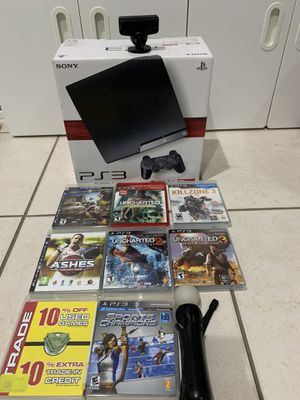 PlayStation PS3 Console +2 Controllers + PlayStation Camera + Move Controller + 8 Games for Sale in Weston, FL