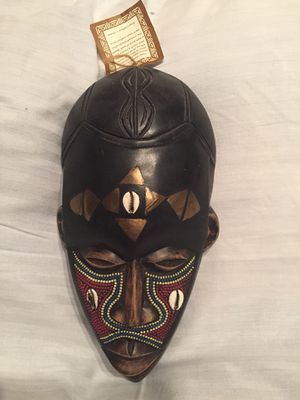 Handcrafted Ghana Wood Mask with Tags for Sale in Minocqua, WI