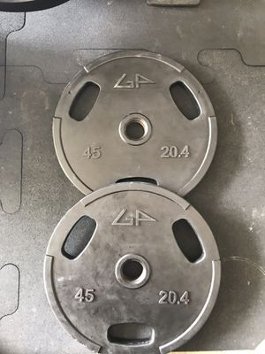 NEW GP Rubber Coated Olympic weight Plates (2x45Lbs) for $250 Firm on Price for Sale in Walnut, CA