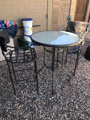 Tall bistro set with handmade wrought iron chairs for Sale in Scottsdale, AZ