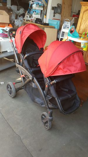 Options Contours boy girl twin double stroller red black for Sale in Downey, CA