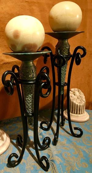 Set two heavy wrought iron candle holders; H16/14xW7 inch; for Sale in Sun Lakes, AZ