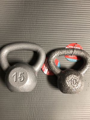 10 & 15 pound kettle bells for Sale in Springfield, VA