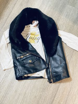 Juicy Couture Leather like vest with fur and matching shirt - 24 months for Sale in Laguna Niguel, CA