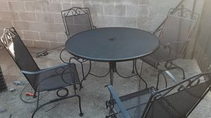 Patio furniture set wrought iron with rocking chairs like new for Sale in Mount Hamilton, CA