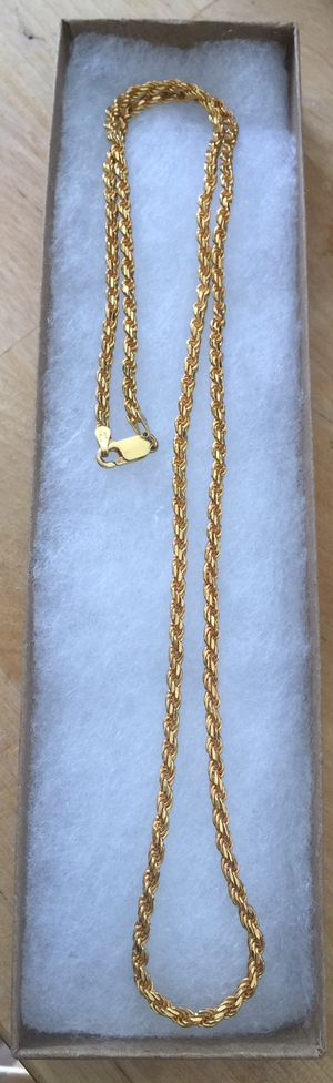 24 inch 925 Italian Sterling Silver rope chain plated with 24K gold for Sale in Baldwin Park, CA