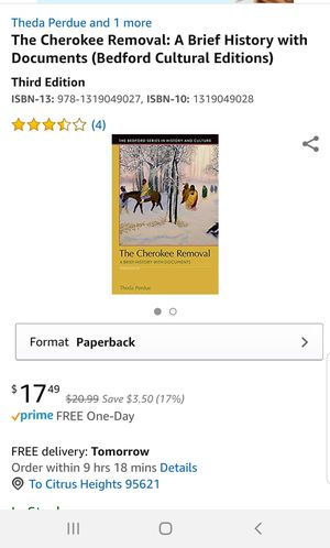 The cherokee removal third edition for Sale in Sacramento, CA