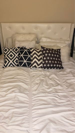 4 decorative black patterned pillows pick up in marina del Rey for Sale in Costa Mesa, CA