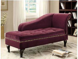 Modern button tufted storage chair ( violet ) . Modern with curved armes , combined with golden nailhead trim and a button tufted seat is a very nice for Sale in Los Angeles, CA