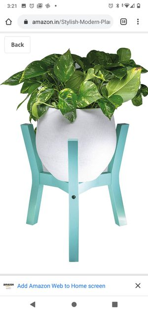 Stylish Modern Plant Pot Stand - Indoor Outdoor Wood Flower Stands | Holder for Ceramic Pots, Plants, Planters up to 10 inches (Green Aqua) for Sale in Concord, NC