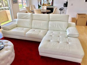 Leather Italian white couch With adjustable headrest and armrests for Sale in Los Angeles, CA