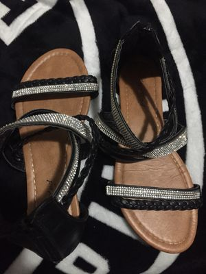 Massimo Sandals , Nike , Black Sandals with diamond hens zip up on heel for Sale in Collinsville, IL