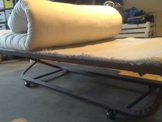 Twin size bed set includes... pristine condition futon, platform pad, metal trundle frame for Sale in Denver,  CO