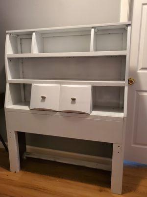 Twin bookshelf headboard white wood for Sale in Victoria, TX