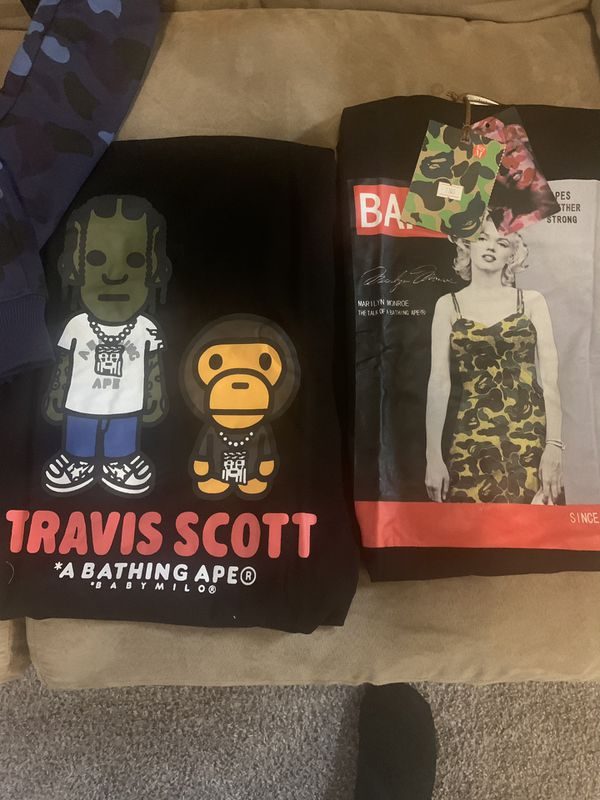 Bape x Travis Scott x Marilyn Monroe x Tiger Shirts and sweats.🔥🔥🔥
