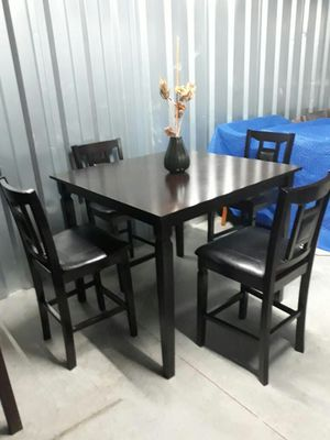 wood & Black Leather, Bar Height Dining/Kitchen Table & Bat Chair Set for Sale in Hampton, VA