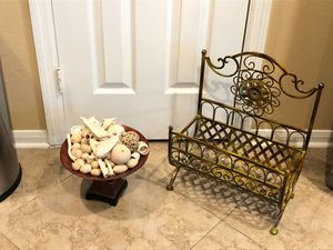 Gorgeous decor amazing magazine rack pedestal decorative bowl with filler for Sale in Katy, TX