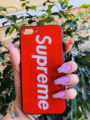 Brand new cool iphone 7+ or 8+ PLUS case cover rubber tempered glass back RED SUPREME mens guys hypebeast hype swag for Sale in San Bernardino, CA