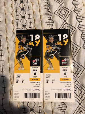 Hockey Tickets Pittsburgh vs Chicago 1-6-19 8pm for Sale in Houston, PA