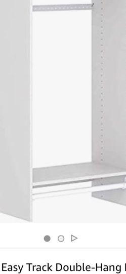 Easy Track Composite Wood Constructed Durable Double Hanging Kit Storage Closet Organizer With 2 Shelves And 2 Hanging Rods, White for Sale in Atlanta,  GA