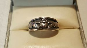 Genuine .35 Inch .925 Solid Sterling Silver Mens Celtic Claddagh Ring. for Sale in Providence, RI
