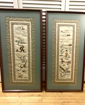 Pair Vintage Chinese Silk Embroidery Matted Framed Panels for Sale in Cary, NC