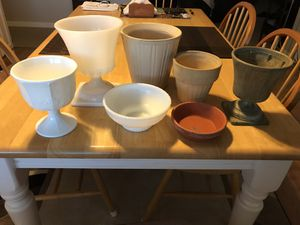 Assortment of 7 plastic, glass and clay flower pots for Sale in Medina, OH