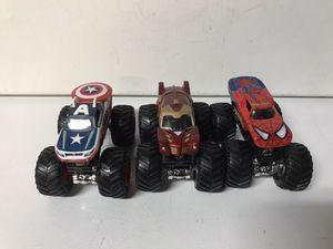 3 DieCast monster trucks 1/64 marvel captain America, spider man, iron man for Sale in Kirkland, WA