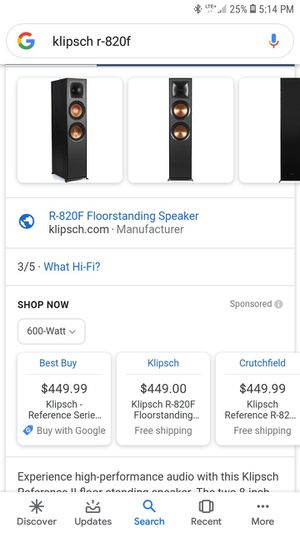 Klipsch R-820f tower speakers for Sale in Casselberry, FL